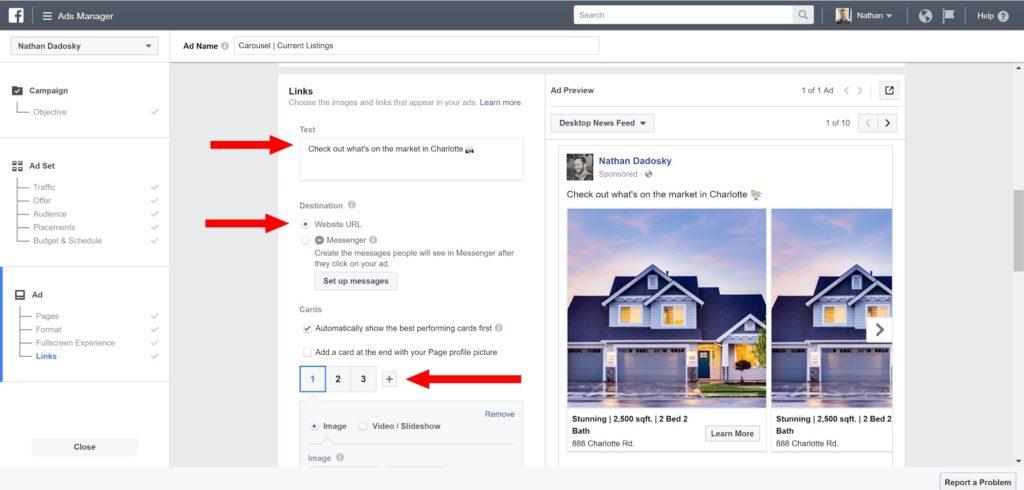 facebook ads for real estate- ads manager screenshot
