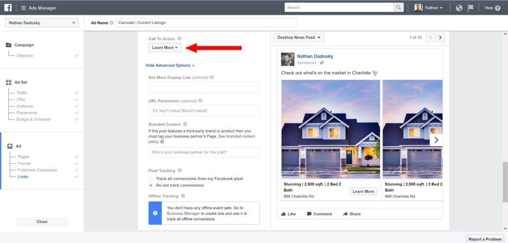 facebook ads for real estate - ads manager screenshot