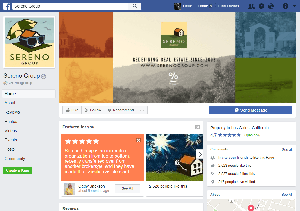 Real Estate Facebook Page Example: Sereno Group