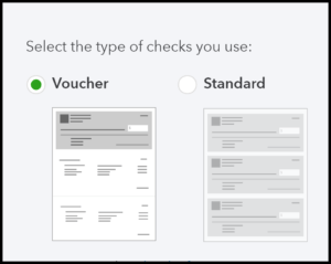 Select check type in QuickBooks Online