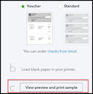 QuickBooks Checks Print Setup Screen