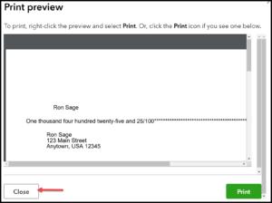 QuickBooks Checks Print Preview Screen in QuickBooks Online