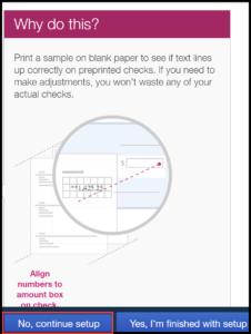QuickBooks Checks Setup Page in QuickBooks Online