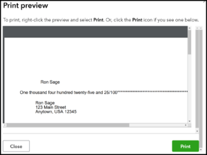 QuickBooks Checks Print Preview Screen in QuickBooks Online