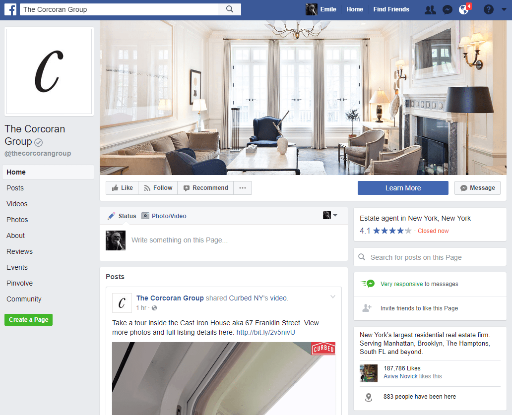 Real Estate Facebook Page Example: The Corcoran Group