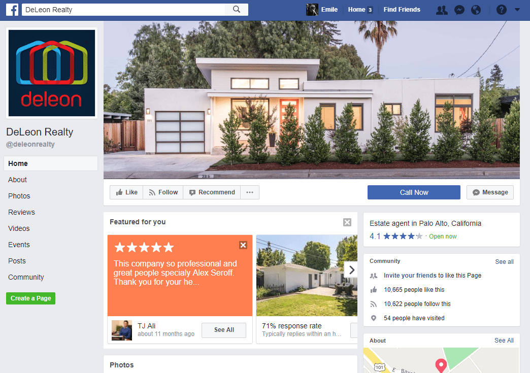 Real Estate Facebook Page Example: The Deleon Team Deleon Realty