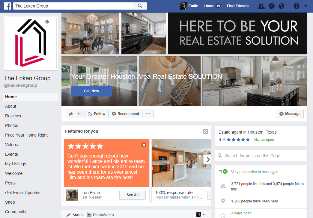 Real Estate Facebook Page Example: The Loken Group