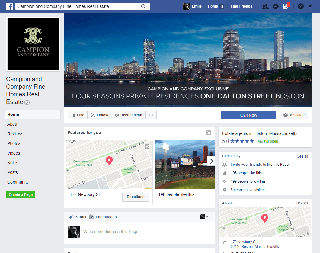 Real Estate Facebook Page Example: Tracey Campion