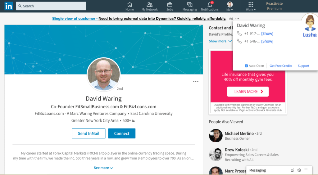 Screen Grab of Lusha Using the Chrome Extension to Reveal Direct Contact Details in LinkedIn