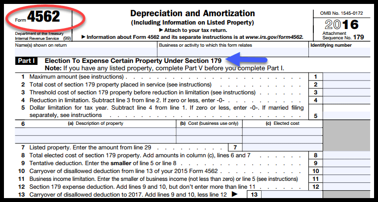 Complete Form 4562 to Elect Section 179 deduction