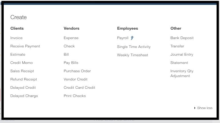 Quickbooks online vs desktop which is right for you quick create menu in quickbooks online ccuart Choice Image