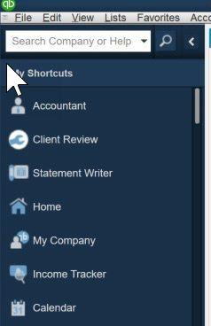 Left Icon Bar in QuickBooks Online