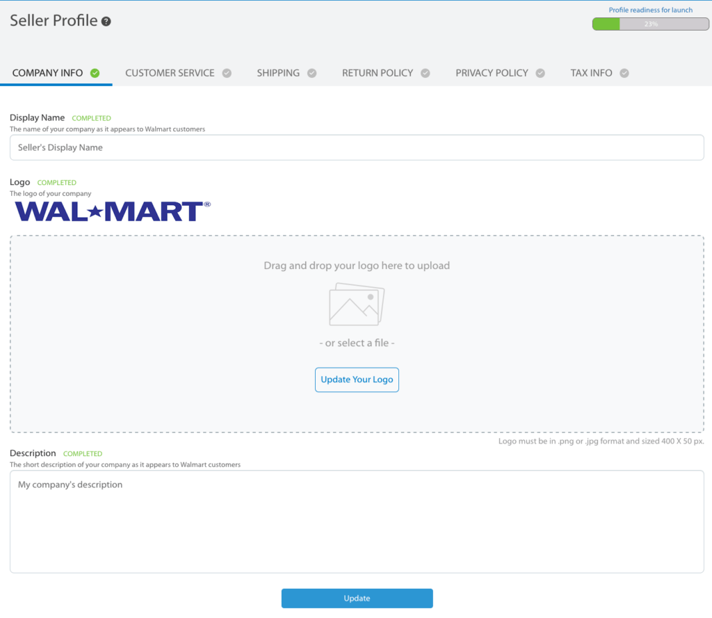 How to sell on Walmart marketplace -- seller profile