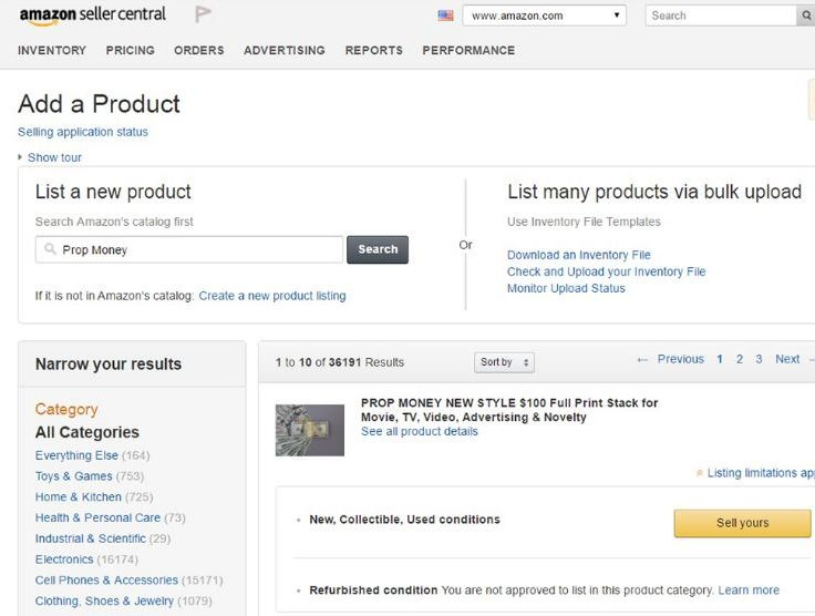 How to sell on Amazon - add products