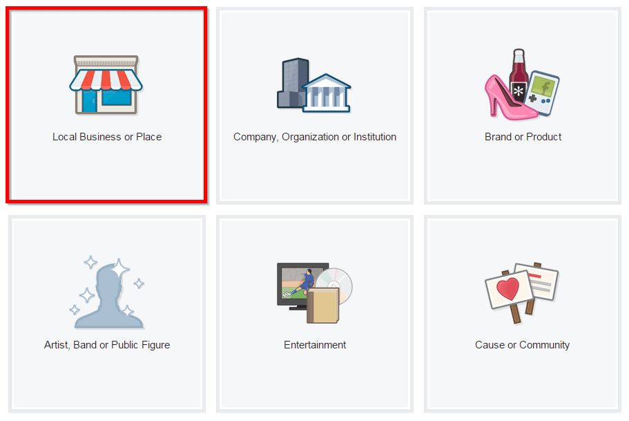 screenshot create a local business page