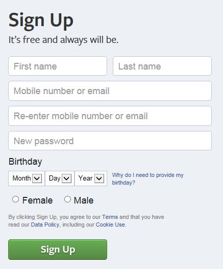 screenshot facebook signup