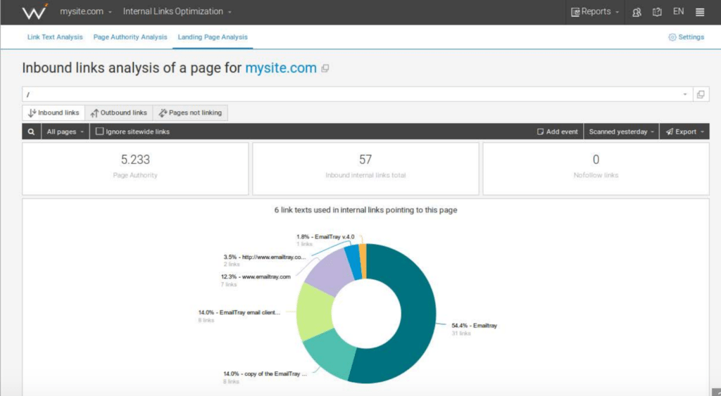 Manage up to 10,000 inbound and outbound links with WebCEO