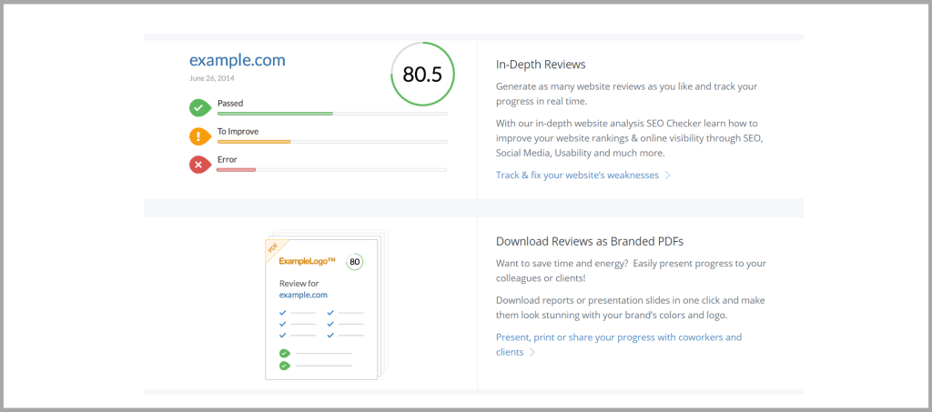Get quick feedback on your website's SEO with WooRank's audit tool and score