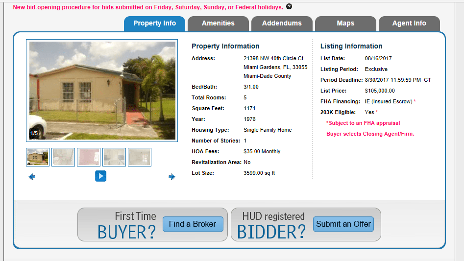 bidding on a hud home