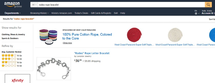 Screenshot of Amazon Rodeo Rope Bracelet Search