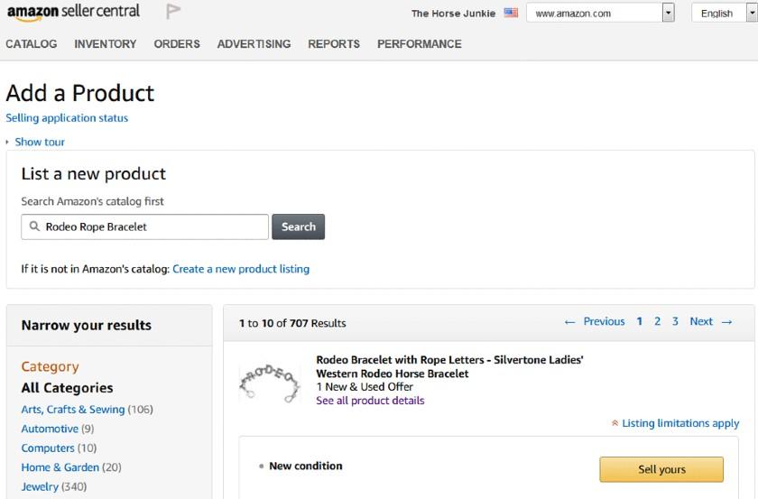 Screenshot of Listing Rodeo Rope Bracelet on Amazon