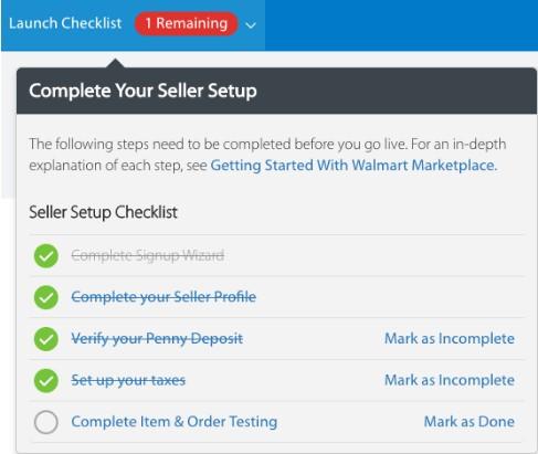 Screenshot of Seller Setup Checklist
