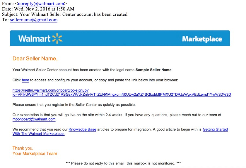 Screenshot of Walmart Email to Seller