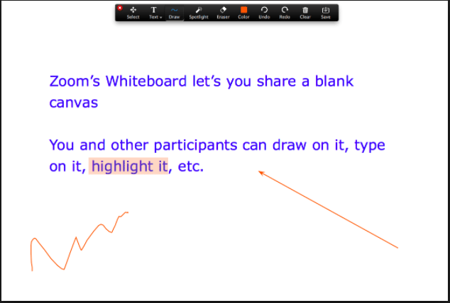 Screen Grab of White Board Tools Being Used in Zoom