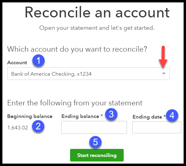 select bank account to reconcile in quickbooks online
