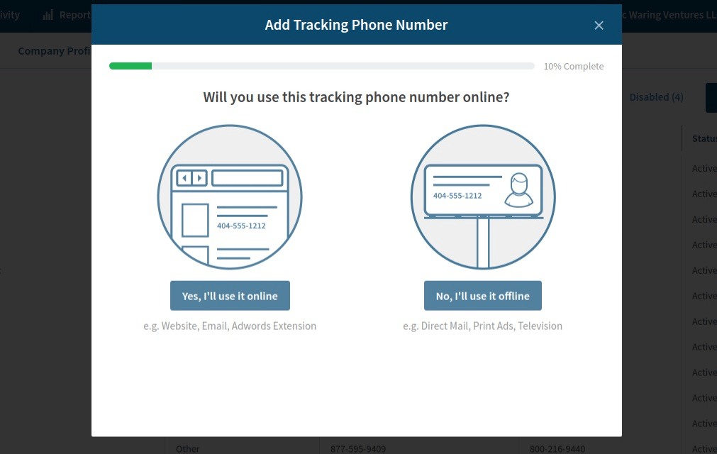 Add tracking numbers in CallRail
