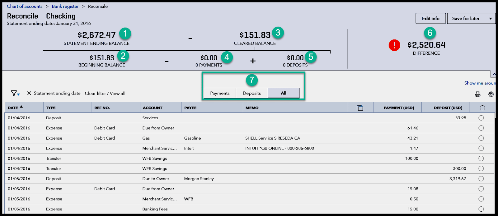 Match Transactions in bank reconciliation window in quickbooks online