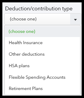 Select Employee Deductions/Contributions in Intuit QuickBooks Payroll