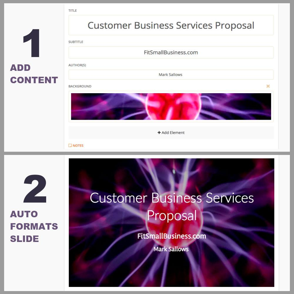 Screen Grab Showing How Slidebean Transforms Content into Professionally Designed Slide Formats