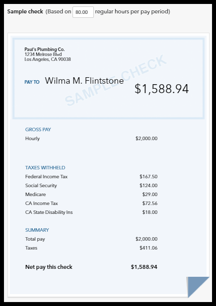 Sample Payroll Check run in Intuit QuickBooks Payroll