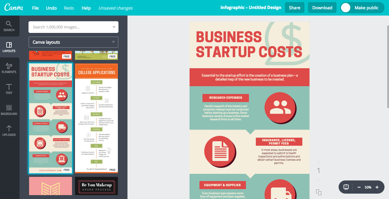 Screen Grab Showing How Easy it is to Select and Use an Infographics Template in Canva