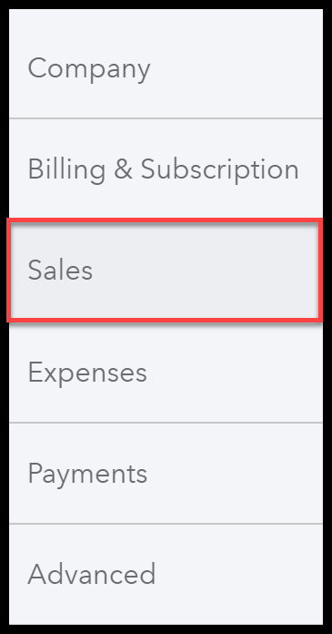 Select Sales Settings in QuickBooks Online