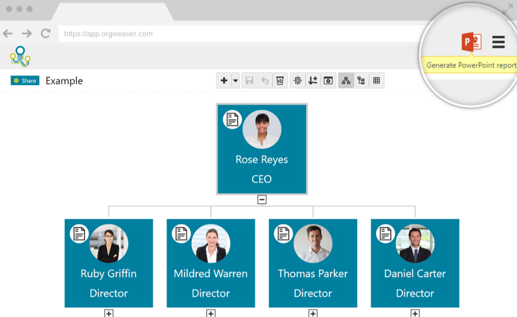 orgweaver org chart example showing tools to add employees - Org Charting Software