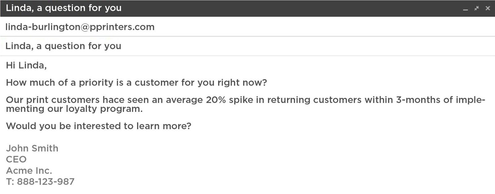 sales email template highlight priority