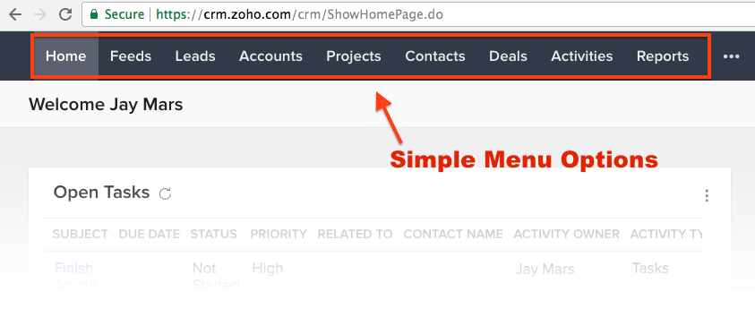 How to Set Up Zoho: Home Screen
