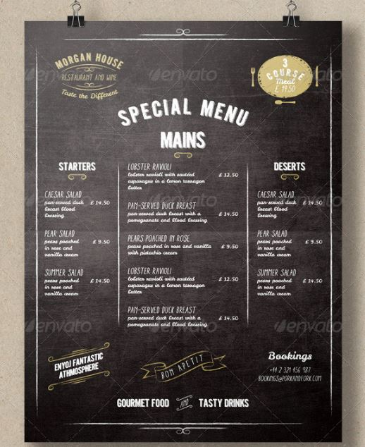 Top 25 free paid restaurant menu templates for Menue template