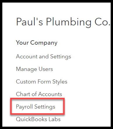 Navigate to Payroll Settings in QuickBooks Online