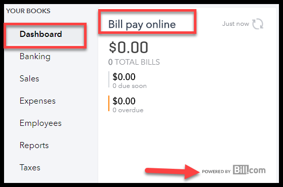 Navigate to quickbooks online pay bills window