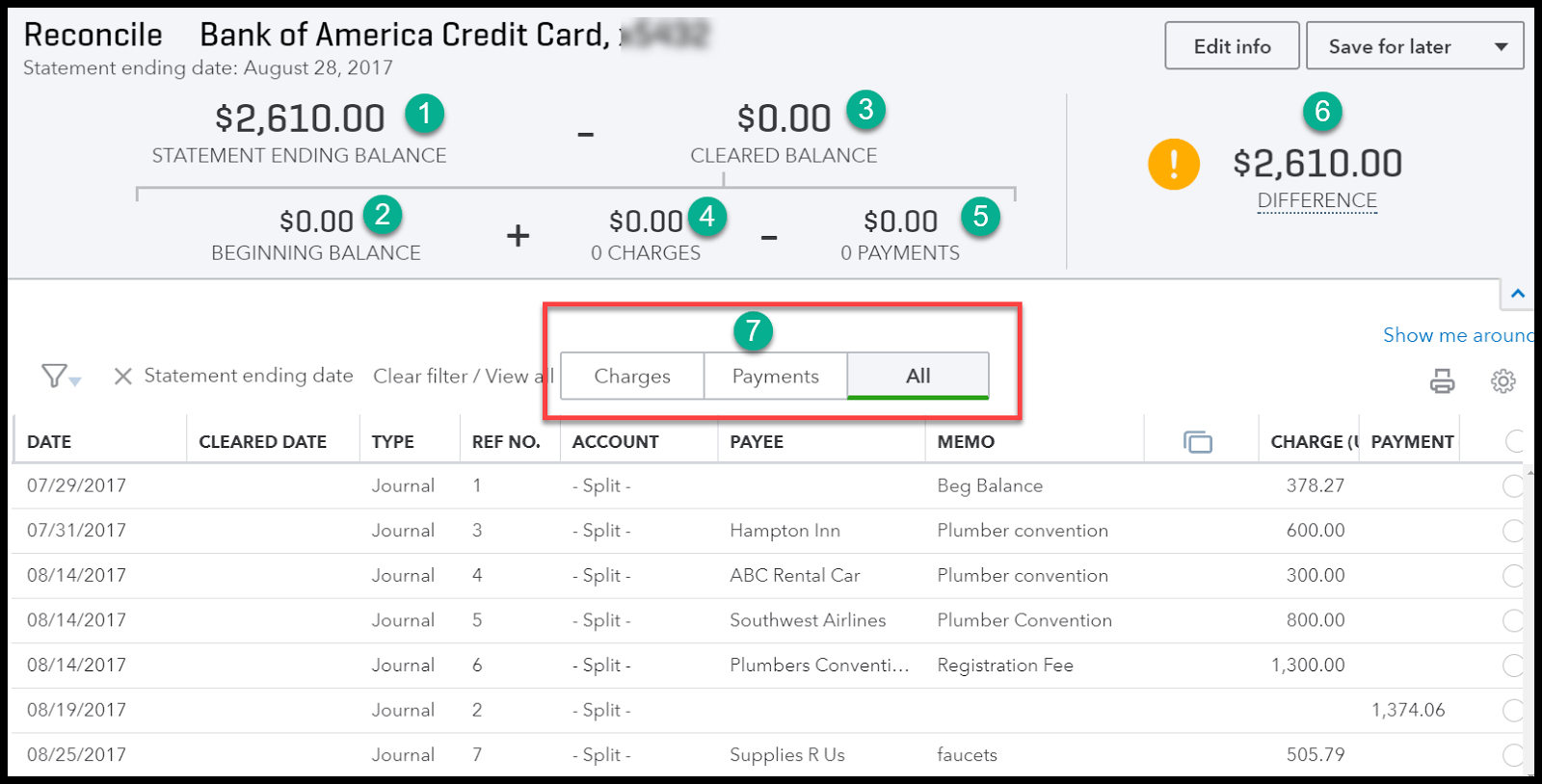 Match Transactions for the Credit Card Reconciliation in QuickBooks Online