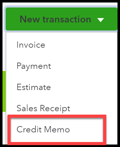 Navigate to Credit Memo in QuickBooks Online for bad debt expense