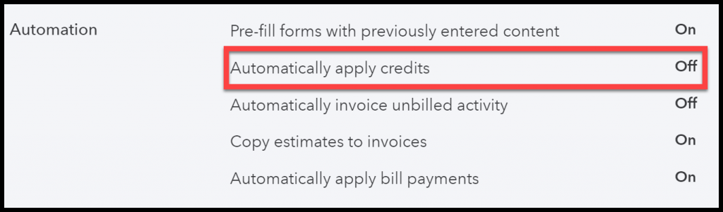 Turn Off Automatically Apply Credits in QuickBooks Online for bad debt expense