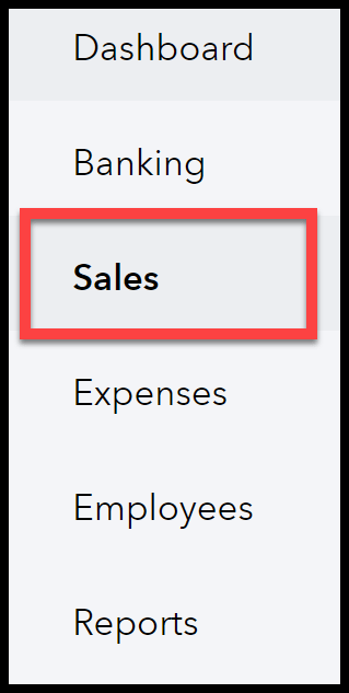 Navigate to Sales in QuickBooks Online for bad debt expense