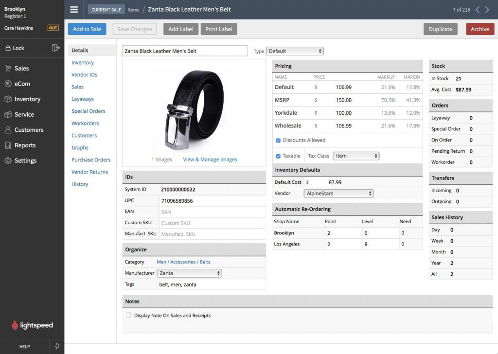 Lightspeed POS - Small Business Inventory Management