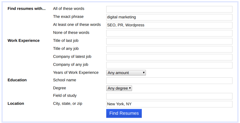 Advanced Search Indeed Resume Search Example Looking For A Digital  Marketing Employee  Resume Search Indeed
