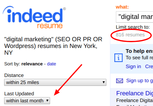 Filtering Option Indeed Resume Search For Resumes In Past Month  Indeed Resume Search