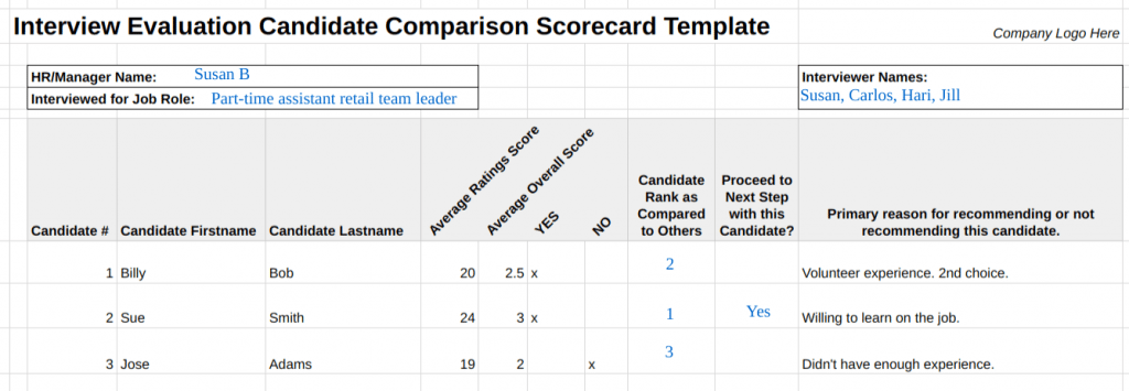 11 Free Interview Evaluation Forms & Scorecard Templates